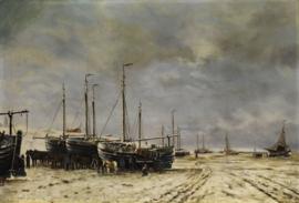 Schilderijbehang  H.W. Mesdag - Ingevroren schepen