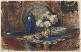 Schilderijbehang  met Stilleven - Stilleven met blauwe Fles