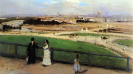 Schilderijbehang - Morisot - View of Paris from Trocadero
