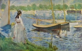 Schilderijbehang - Manet - His Embankment at Argenteuil