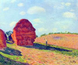 Schilderijbehang - Sisley - De Hooibalen - The straw rents