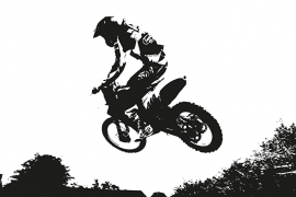 Fotobehang - Sport - Springende motor zwart/wit