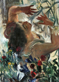 Schilderijbehang - Corinth - Woman with Lilies in the greenhouse