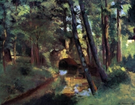 Schilderijbehang Pissarro - Small bridge of Pontoise