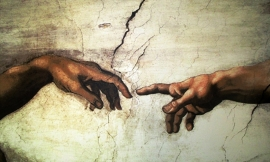 Schilderijbehang  Michelangelo - Creation of Adam (detail 3)