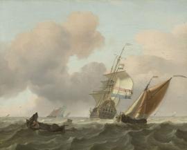 Schilderijbehang  Ludolf Backhuysen - Woelige Zee met Schepen