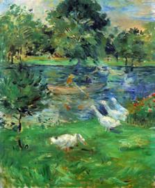 Schilderijbehang - Morisot - Girls in a boat with Geese
