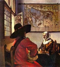 Schilderijbehang - Vermeer - De Soldaat en het lachende Meisje