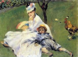 Schilderijbehang - Renoir - Camille Monet and her son Jean