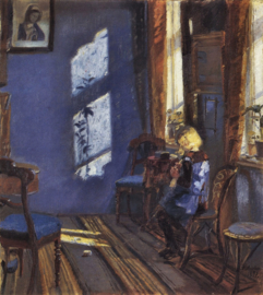 Schilderijbehang - Anna Ancher - Sunshine in the blue room