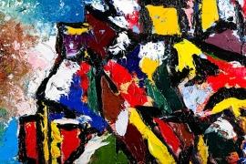 Schilderijbehang  met Abstracte Kunst - Zonder titel nr. 12