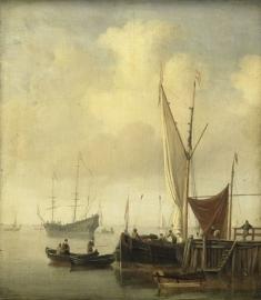 Schilderijbehang  Willem v.d. Velde II - Havengezicht