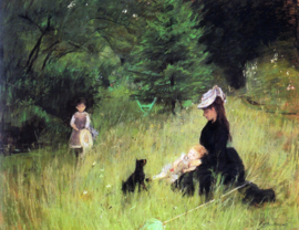 Schilderijbehang - Morisot - In the meadow