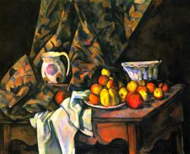 Schilderijbehang - Cézanne - Stilleven met appels en perzikken