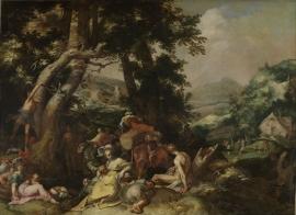 Schilderijbehang  met Religieuze Kunst - Prediking Johannes de Doper