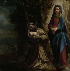 Schilderijbehang  met Religieuze Kunst - Het Visioen van Fransiscus van Assisi