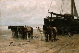 Schilderijbehang - Anton Mauve - Vissersboot en reddingspaarden op het strand