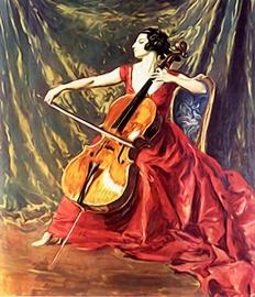 Fotobehang - Muziek - Dame met Cello