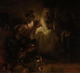 Schilderijbehang  met Religieuze Kunst - De verloochening van Petrus
