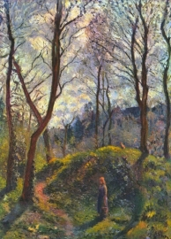 Schilderijbehang Pissarro - Landscape with big trees