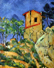 Schilderijbehang - Cézanne - House with Walls