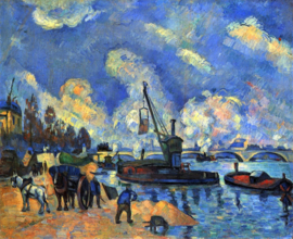 Schilderijbehang - Cézanne - The Seine at Bercy