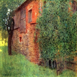 Schilderijbehang - Klimt - Farmhouse in Chamber in Attersee