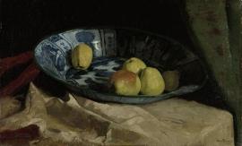 Schilderijbehang  met Stilleven - Stilleven met Appels op een Delfts blauwe Schaal