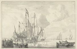 PrentBehang  Willem v.d. Velde II - Zeegezicht met enkele Schepen