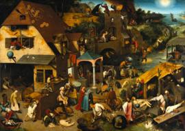 Schilderijbehang - Pieter Bruegel - Nederlandse spreekwoorden / De verkeerde wereld