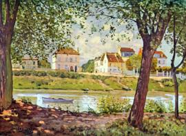 Schilderijbehang - Sisley - Village on the banks of the Seine