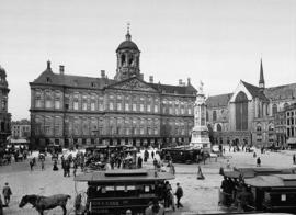Fotobehang Zwart wit - oud Amsterdam - Paleis op de Dam ( anno ca. 1900 )