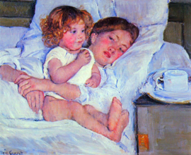 Schilderijbehang - Cassatt - Breakfast in bed