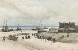 Schilderijbehang - Johannes Bosboom - Het strand te Scheveningen