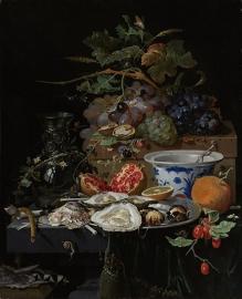Schilderijbehang  met Stilleven - Stilleven met Vruchten en Oesters