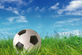 Fotobehang - Kinderkamer - Voetbal in gras