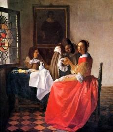 Schilderijbehang - Vermeer - Vrouw met glas wijn