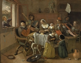 Schilderijbehang  Jan Steen - Het vrolijk Huisgezin
