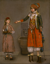 Schilderijbehang - Liotard - A Frankish woman and her servant