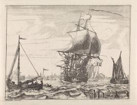 Schilderijbehang  Ludolf Backhuysen - Gezicht op het IJ met roeiboot
