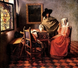 Schilderijbehang - Vermeer - Glass of Wine