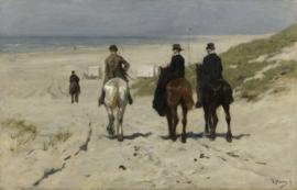 Schilderijbehang - Anton Mauve - Morgenrit langs het strand