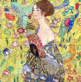 Schilderijbehang - Klimt - Lady with Fan / Vrouw met Waaier