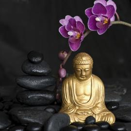 Fotobehang Wellness - Boedha met orchidee