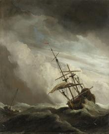 Schilderijbehang  Willem v.d. Velde II - De Windstoot