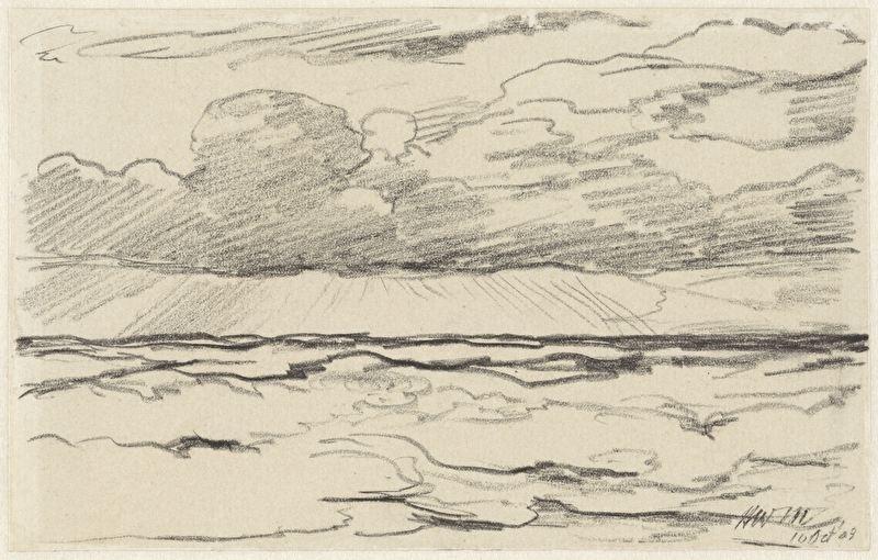 Schilderijbehang  H.W. Mesdag - Zee met Wolkenlucht