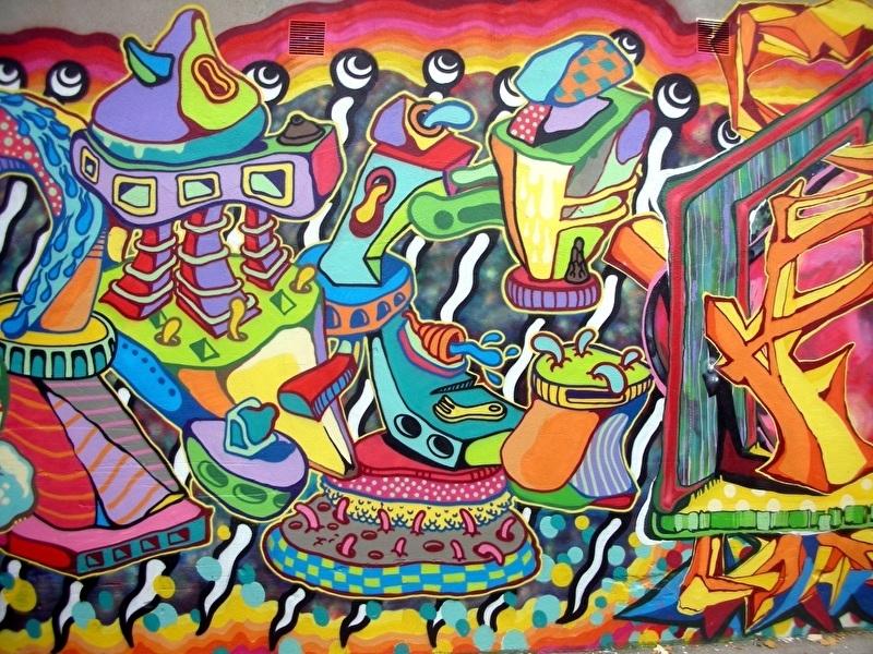 Schilderijbehang met Graffiti - Colors