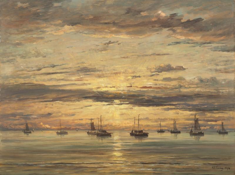 Schilderijbehang  H.W. Mesdag - Sunset at Scheveningen