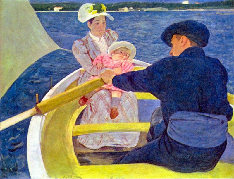 Schilderijbehang - Cassatt - The boat travel