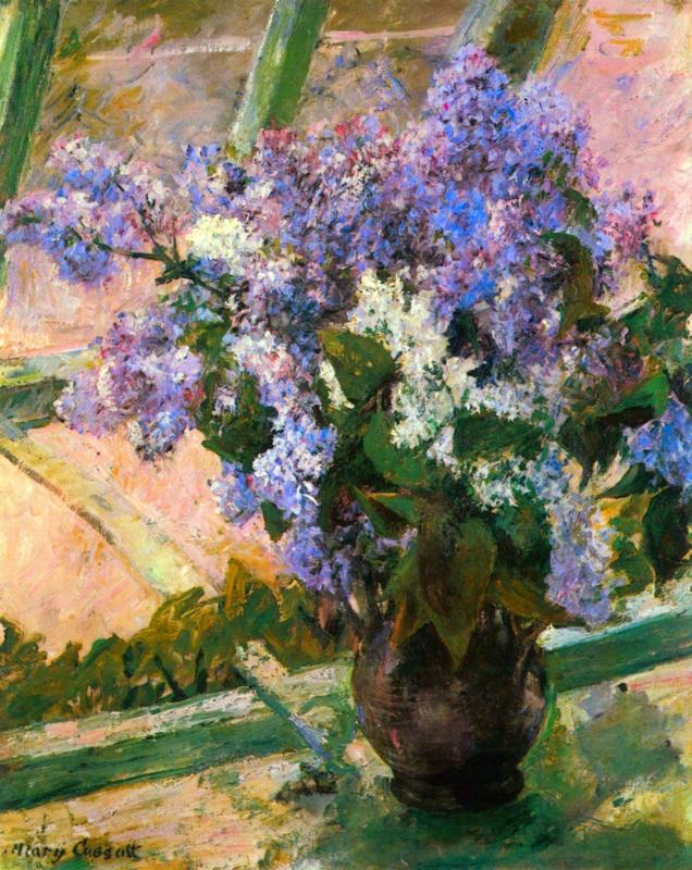 Schilderijbehang - Cassatt - Flowers in the window